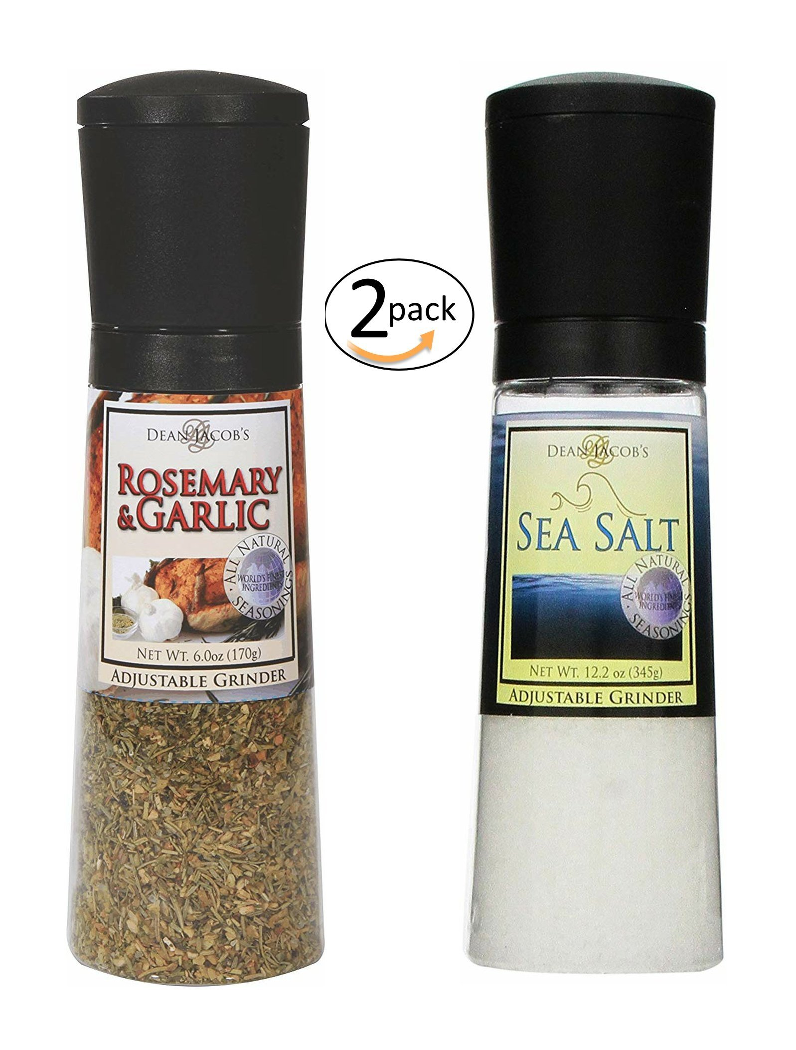 Dean Jacob's Adjustable Grinder Set - Rosemary & Garlic Seasoning 6 oz and Sea Salt 12.2 oz - 2 pack