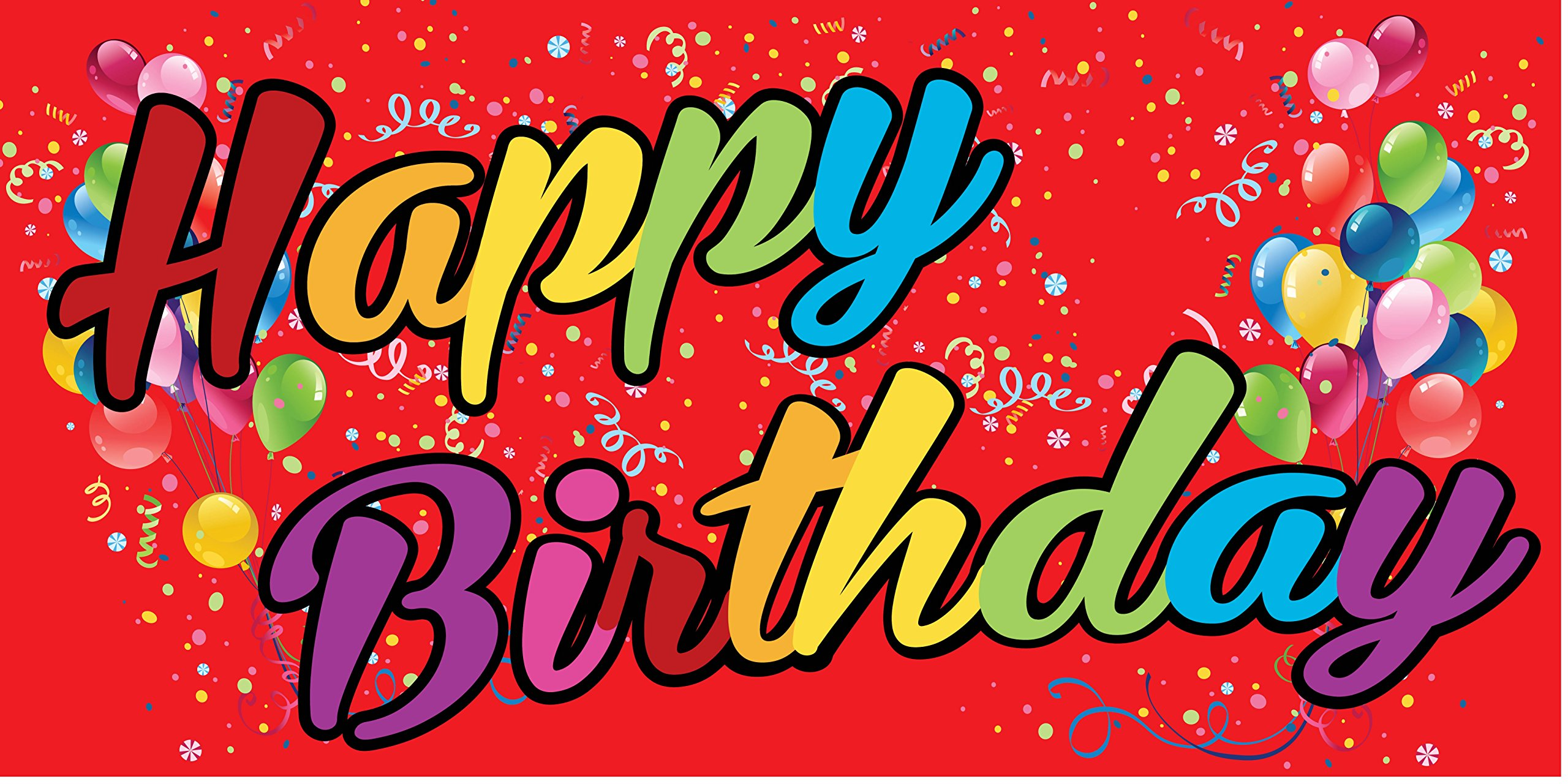 Pre-Printed Happy Birthday Banner - Rainbow - Red (10' x 5') by Reliable Banner Sign Supply & Printing