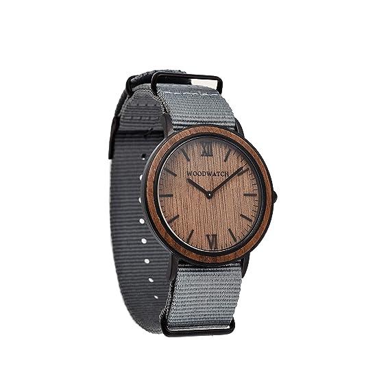 Brown Walnut Grey Nylon   Madera Reloj para hombres, LA Wood Watch Relojes de madera