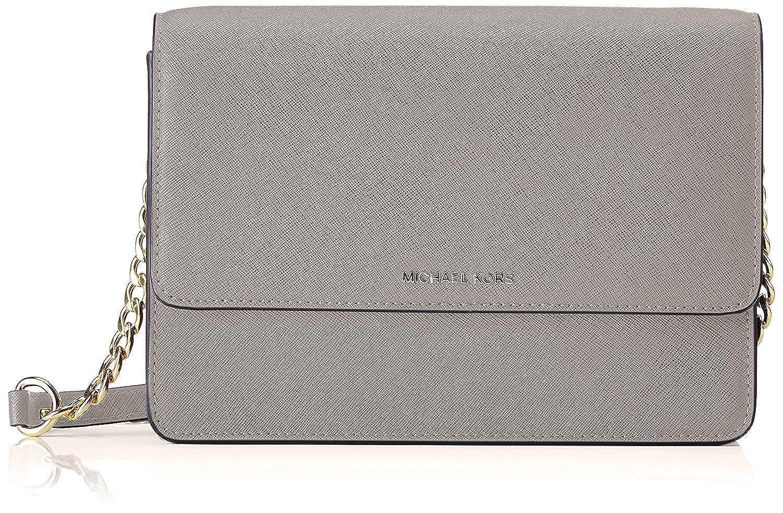 706f8b99a0d7 Michael Kors Large Gusset Leather Crossbody - Pearl Grey: Handbags:  Amazon.com