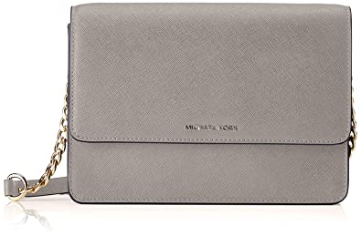 a637b302b1d3 Image Unavailable. Image not available for. Color: Michael Kors Large  Gusset Leather Crossbody - Pearl Grey