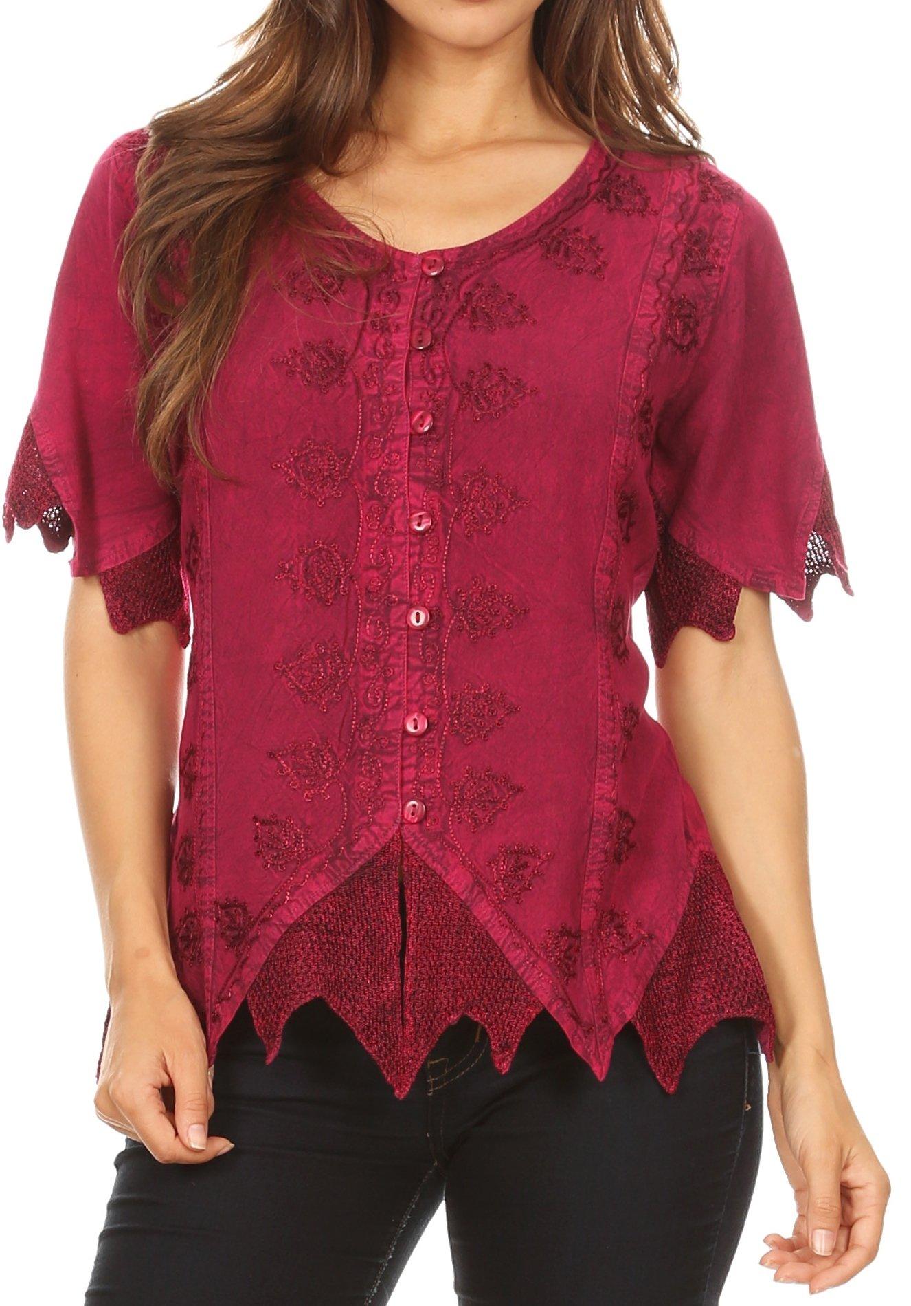 Sakkas 1668 - Emma Womens Stonewashed V Neck Short Sleeve Blouse Top Crochet Button Down - Fuschia - XXL