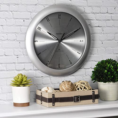 FirsTime Co. Plasma Steel Wall Clock, 11 , Silver