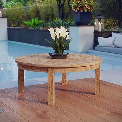 modway marina teak wood outdoor patio round coffee table in natural - Teak Wood Coffee Tables