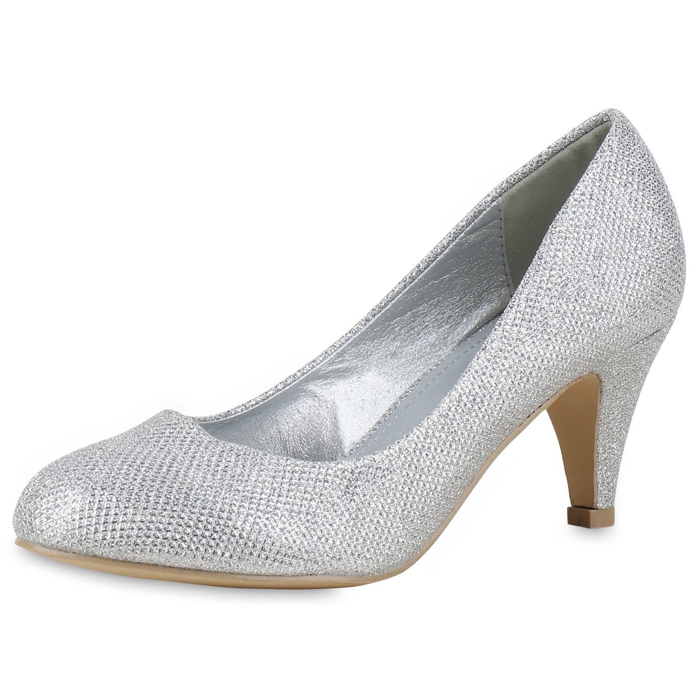 napoli-fashion Klassische Damen Pumps Strass Glitzer Party Schuhe Stiletto Mid Heels Metallic Hochzeit Abendschuhe Abiball Jennika Silber Muster