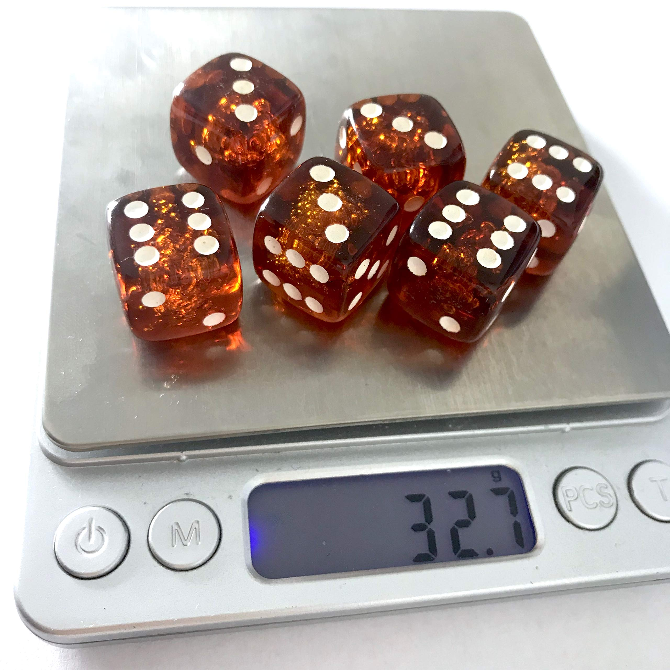 x6 Proper size Amber Dice set for Board games and Gambling by Generic (Image #8)