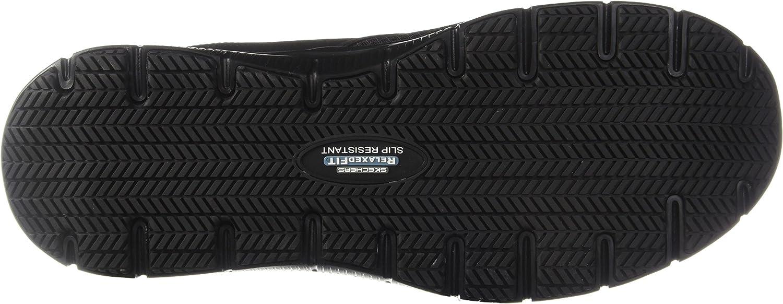 skechers men's black flex advantage slip resistant mcallen slip on