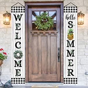 ORTIGIA Welcome Summer Porch Sign Lamb's Ear Grapevine Banner for Outdoor Summer Fruit Pineapple Decorations Outdoor Indoor Seasonal Holiday Hanging Flags Wall Decor for Front Door Home Party Supplies