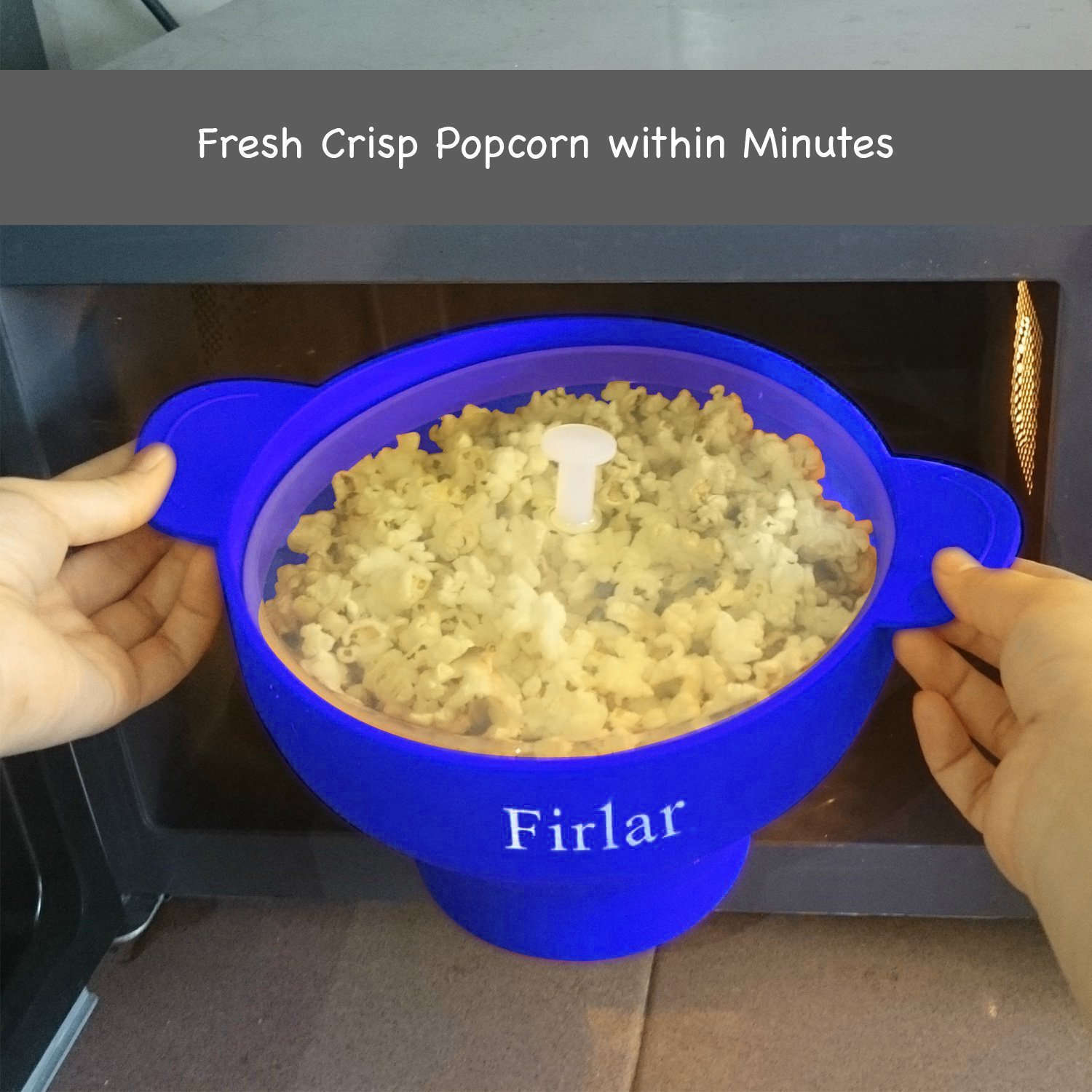 Firlar Microwave Popcorn Popper Sturdy Convenient Handles, Silicone Popcorn Maker, Collapsible Bowl with Lid (Blue)