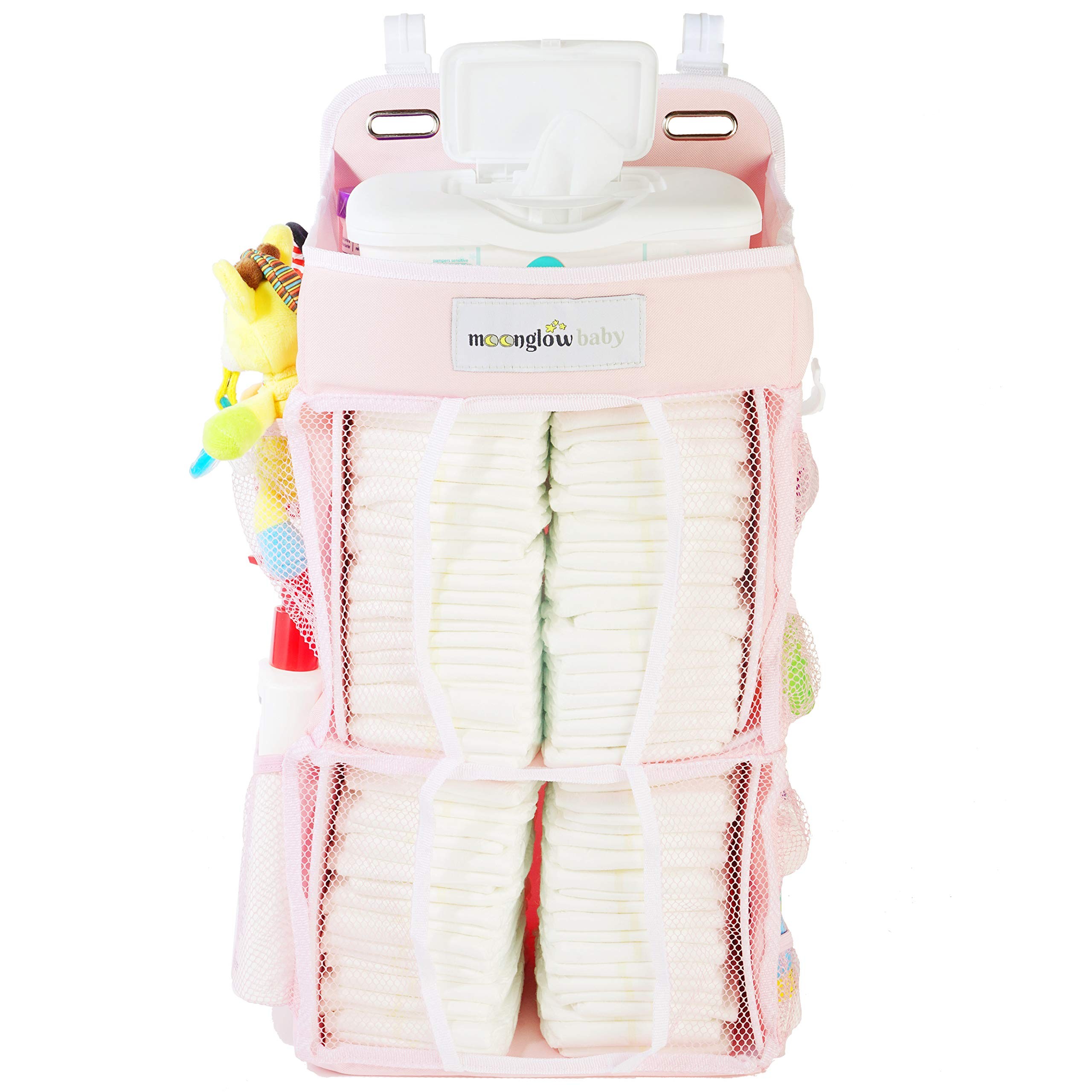 {Improved Model} Nursery Diaper Organizer (Now w/Double The Diaper Storage) | Baby Essentials Caddy and Hanging Organizer | Attaches to Crib, Playard, or Changing Table (Pink)