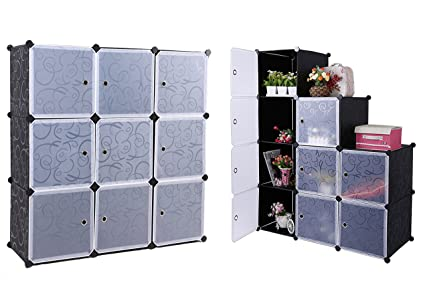 DIY Cube Organizer Multi Use Plastic Storage Cabinet Closet With  Translucent Doors, Modular Closet