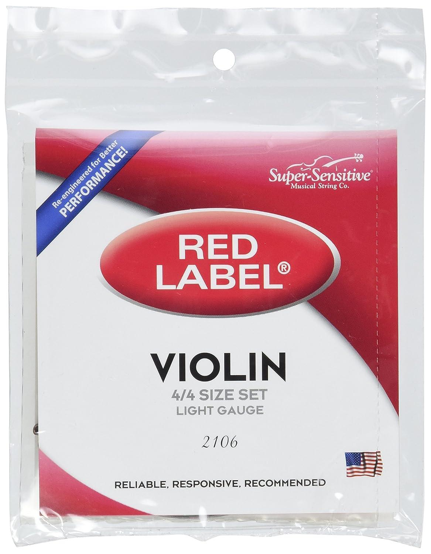 Super Sensitive Red Label 2106 Violin String Set, 4/4 Soft