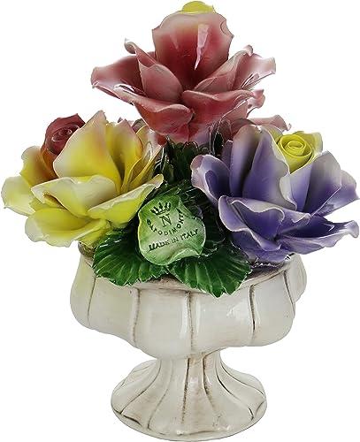 Capodimonte Authentic Handmade Italian Multicolor Roses on Pedestal Base