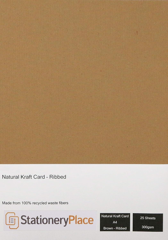 Stationery place a coste marrone riciclato naturale –  Carta kraft, A4, 300 g/mq, 25 fogli 300g/mq 25fogli StationeryPlace