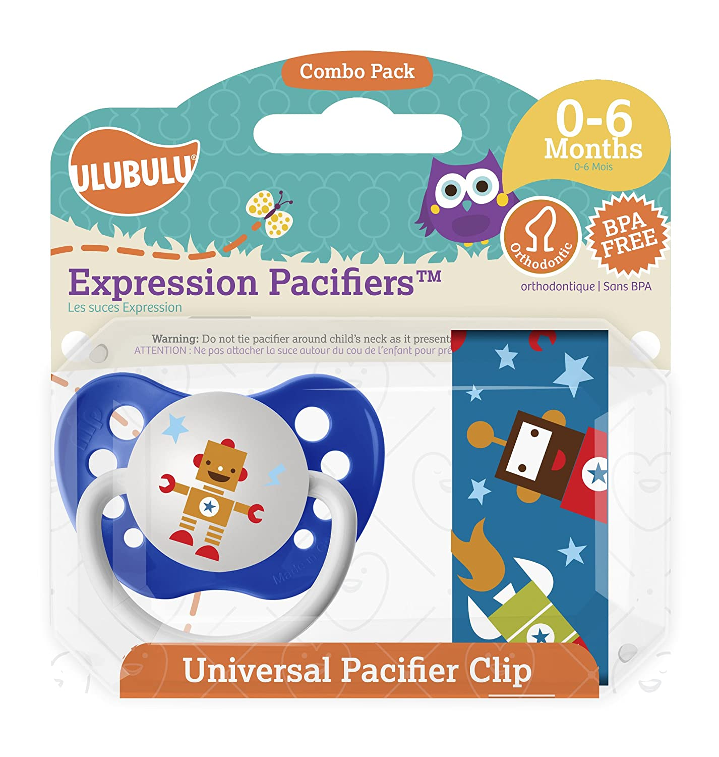 Ulubulu Robonaut Pacifier and Clip Combo Set, Blue, 0-6 Months MP-08-99-H-2-003