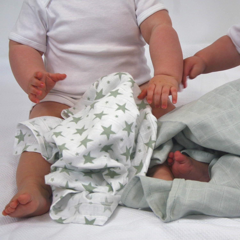 Grau mit Sternen MuslinZ Baby-Spucktuch 100/% Baumwolle quadratisch 70 x 70 cm