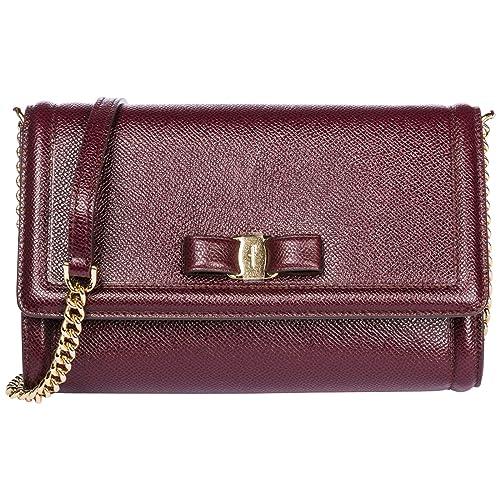 Salvatore Ferragamo bolso de mano mujer en piel con racolla nuevo original fiocc: Amazon.es: Zapatos y complementos