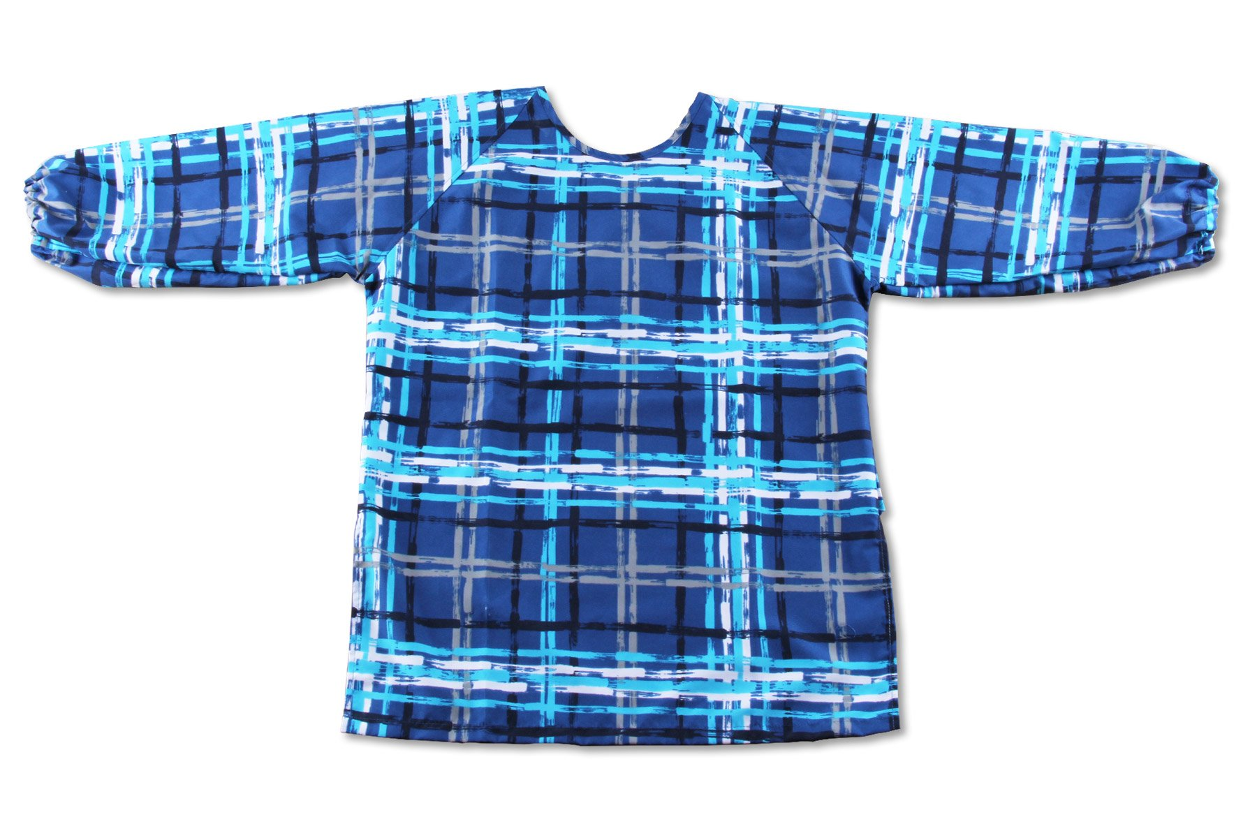 Kid's Long Sleeve Fabric Art Smock, Size Adjustable (M: 3-5 Years, Blue Plaid)