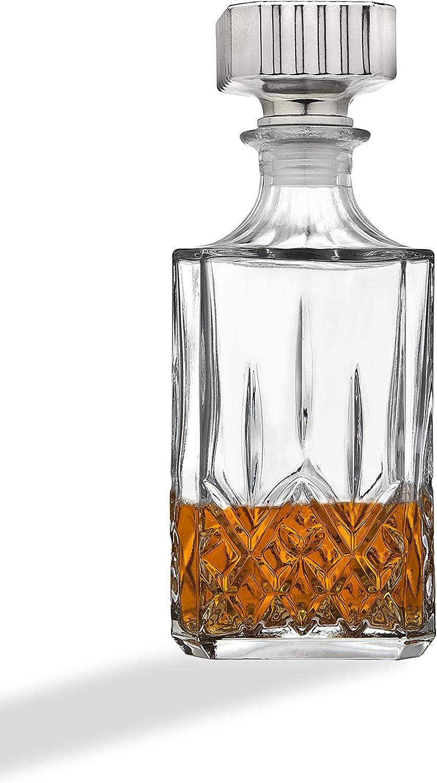 Diamond Beverage Carafe Jug Wine Decanter Glass with Silver ...