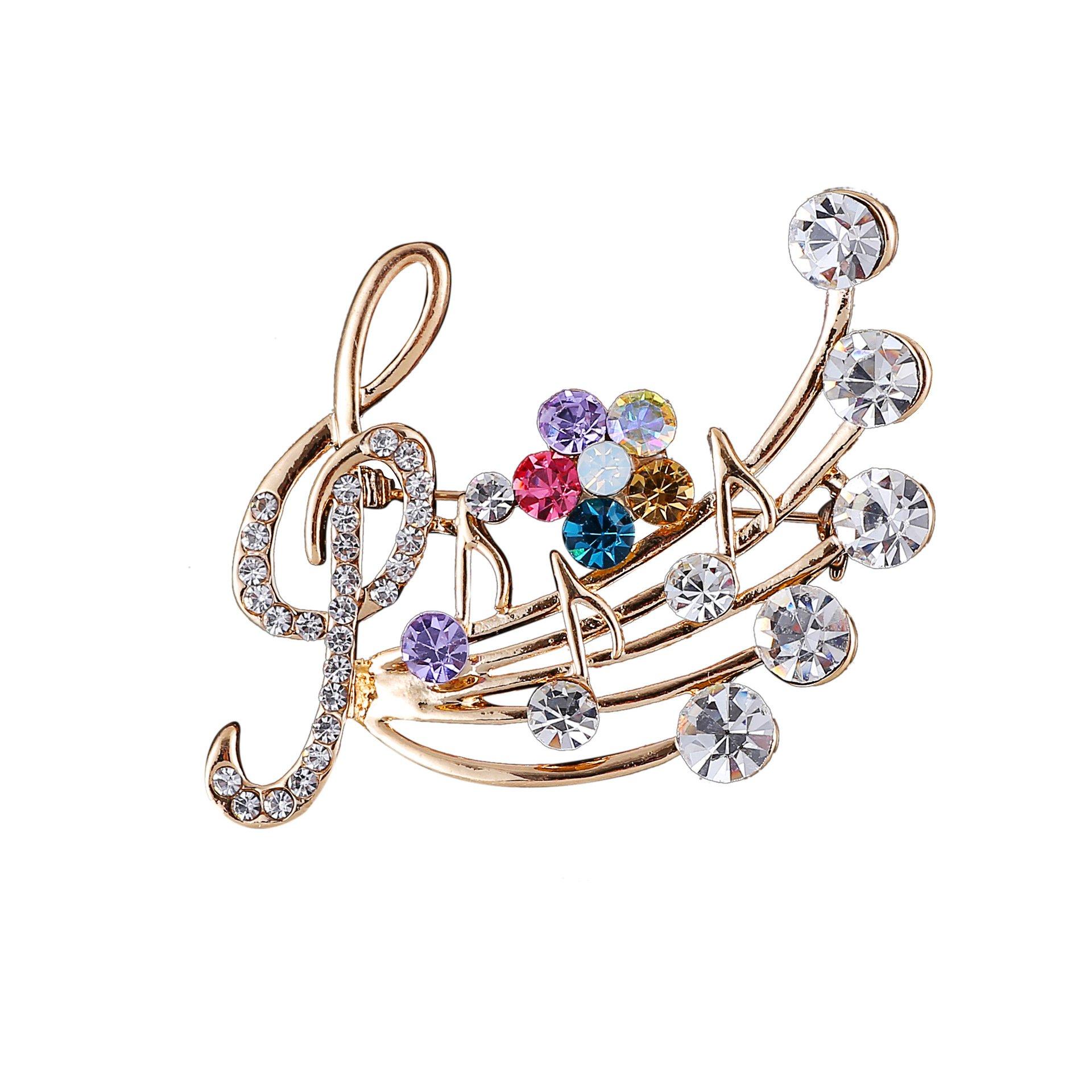 YinMai Treble Clef Musical Notes Brooch Pin Multicolor Rhinestone flower Brooch