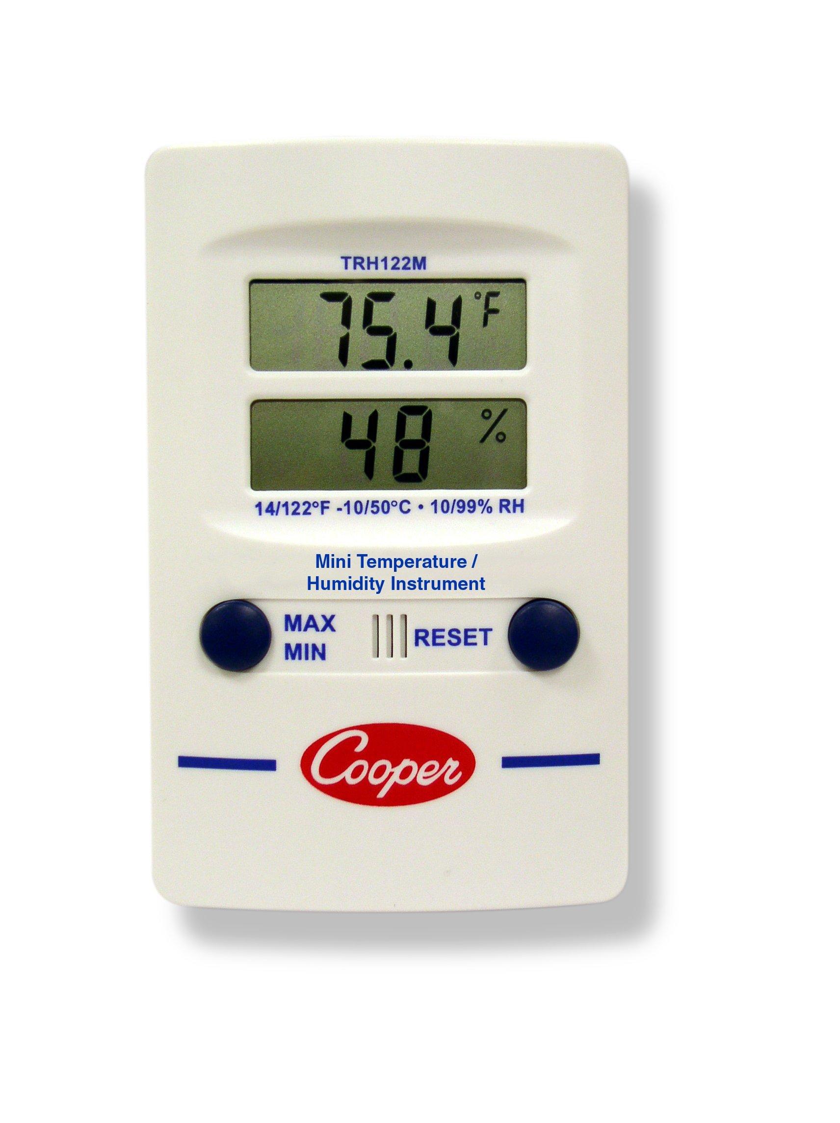 Cooper-Atkins TRH122M-0-8 Digital Mini Temperature/Humidity Dual-Display Wall Thermometer, 14/122° F Temperature Range by Cooper