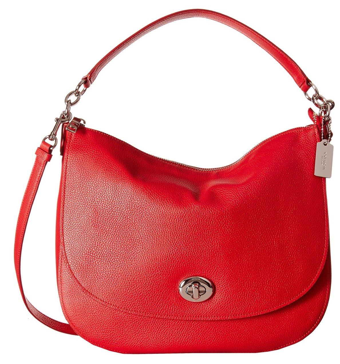 COACH Women's Pebbled Turnlock Hobo SV/True Red Hobo