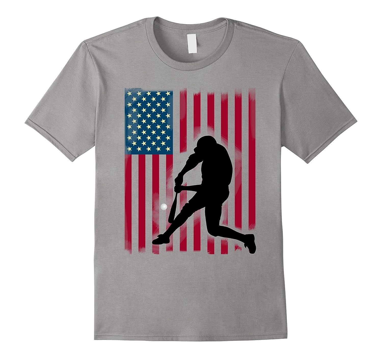 baseball hit team sport cool fun US Flag LOL T-Shirt-Vaci