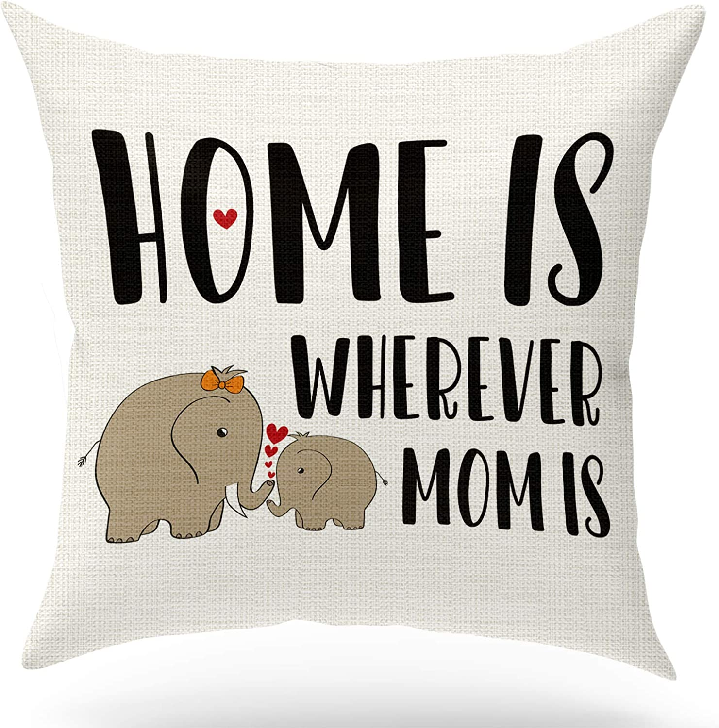 KongMoTree Mom Birthday Gifts,Mom Gifts,Home is Wherever is Mom is,Decorative Cotton Linen Pillow Case for Sofa Bedroom,Home Decor Farmhouse Throw Pillow Cover 18x18 inch