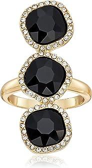 T Tahari - Anillo de 3 Piedras con Cristales Dorados