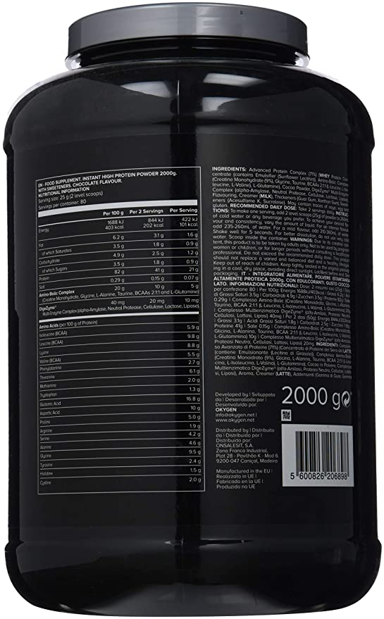 Okygen Sports 100% Whey Protein Advanced, Sabor Chocolate - 2000 gr