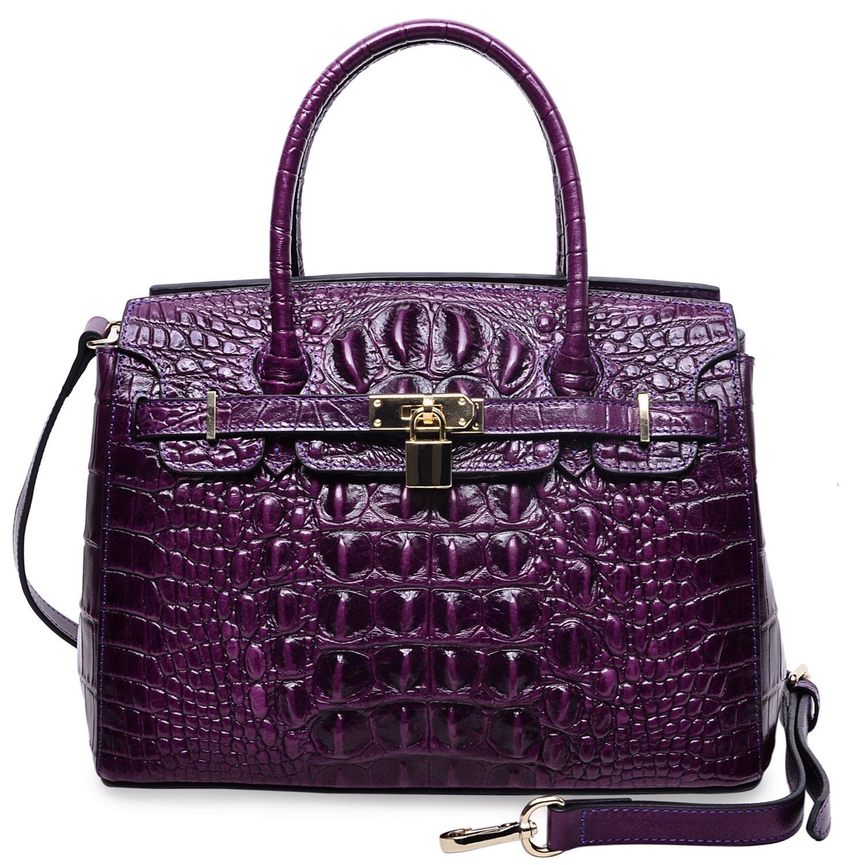 PIJUSHI Women's Padlock Handbags Genuine Leather Tote Crocodile Bag Best Holiday Gift P10103(30CM crocodile Violet)