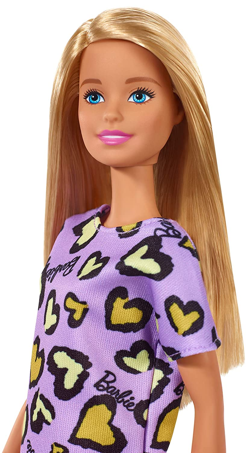 Barbie Doll for 3 to 7 Year Olds Wearing Purple and Yellow Heart-Print Dress and Platform Sneakers Blonde
