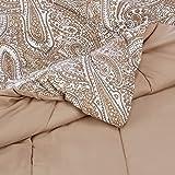 Amazon Basics Comforter Set - Soft, Easy-Wash Microfiber - Full/Queen, Taupe Paisley