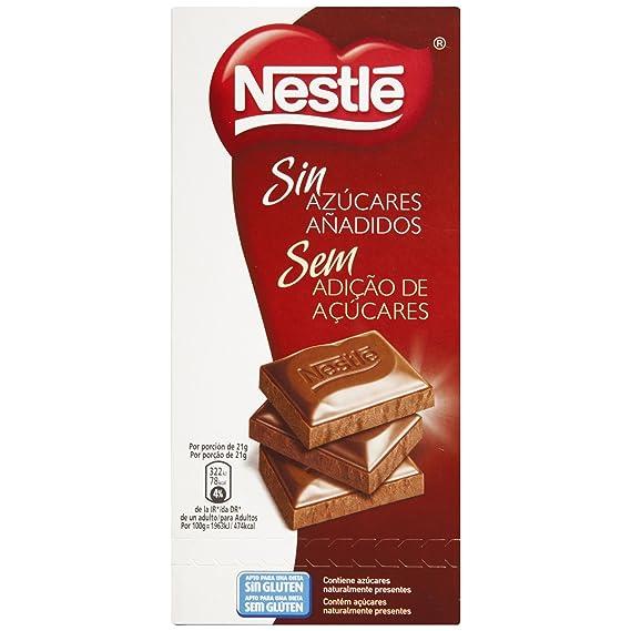 Nestlé Tableta sin Azúcar con Leche - Paquete de 18 x 125 gr - Total: