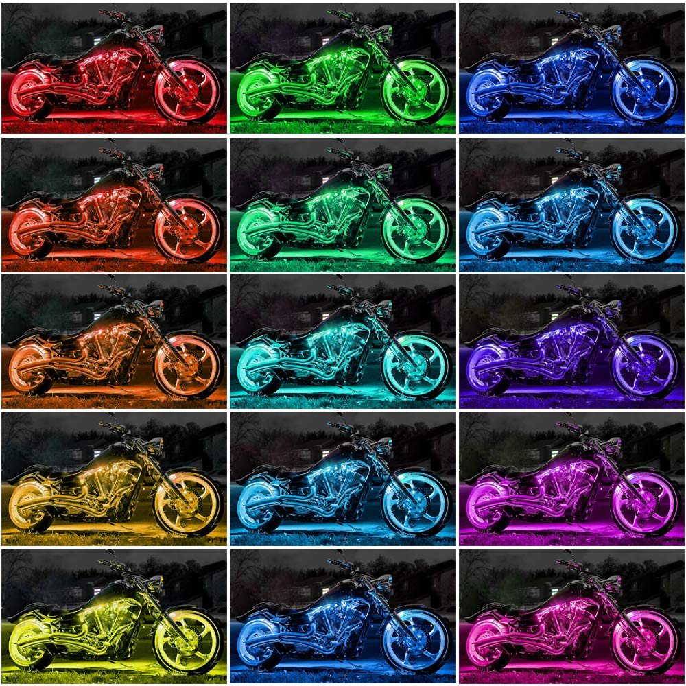 Multi-Color Accent Glow Neon Lights Lamp Flexible with Dual IR//RF//Sound Controller for Harley Davidson Honda Kawasaki Suzuki Ducati Polaris KTM BMW RangerRider 12PCS Motorcycle LED Strip Lights kit