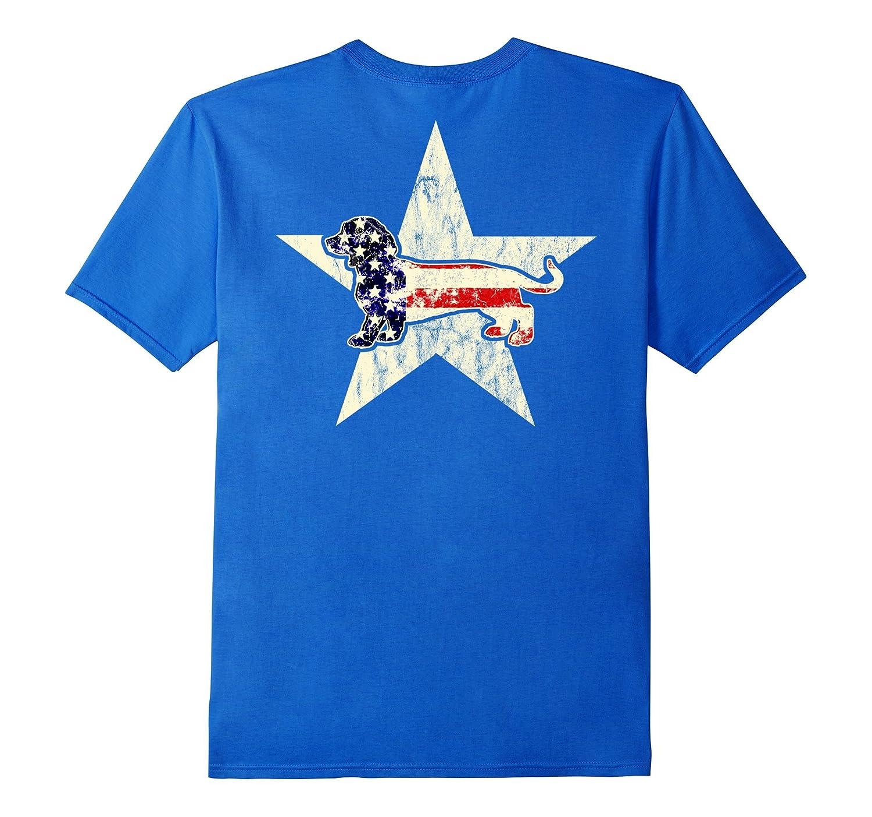 Dachshund Dog American Flag T Shirt 4th July Cute Back
