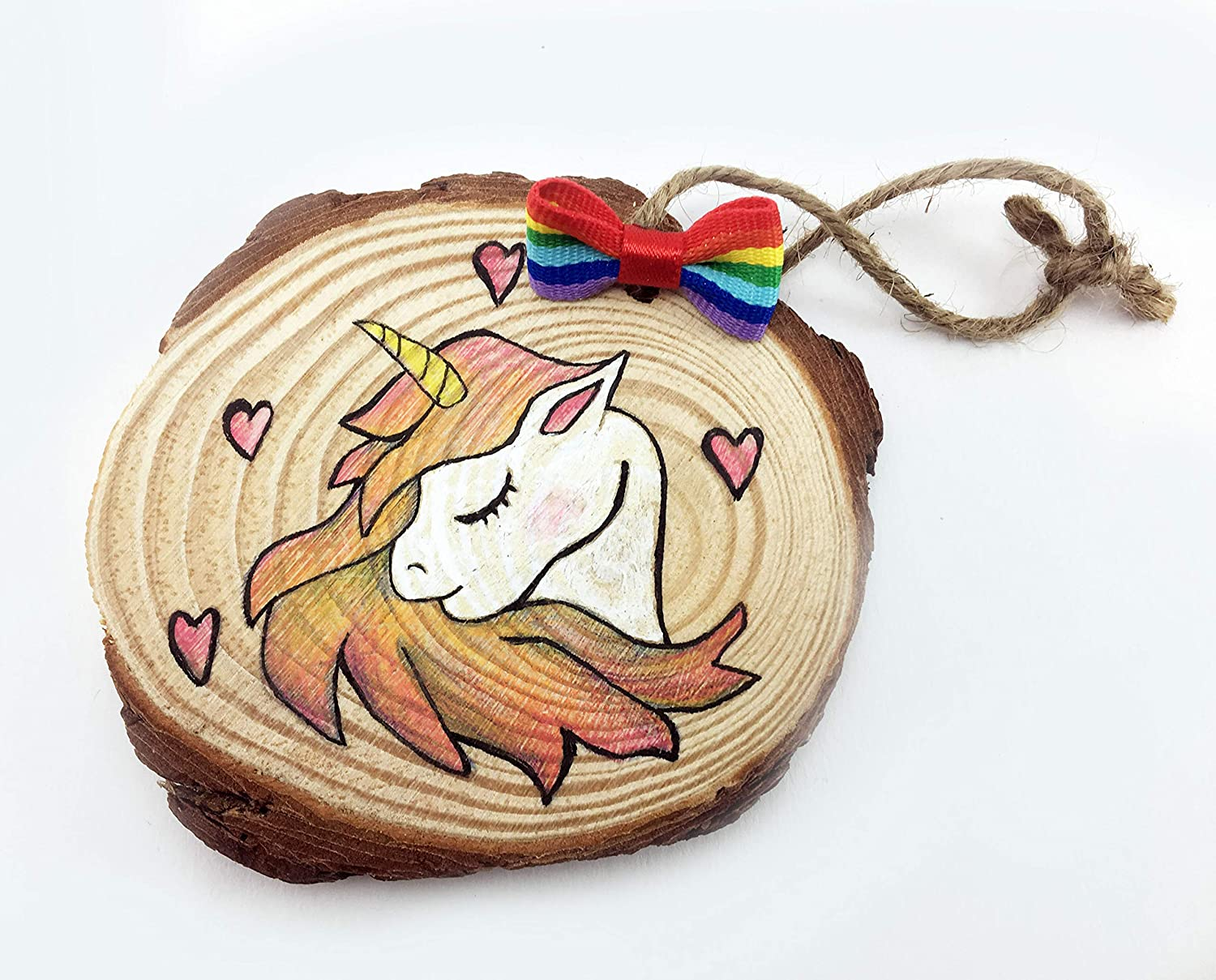 Unicorn 2018 Handmade Wood Slice Ornament for Tree