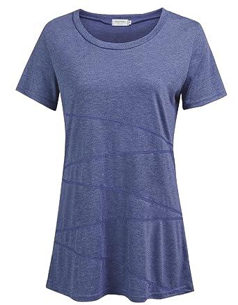 81fd3d29f34 Women s Casual Loose Short Sleeve Shirts Yoga Tops Activewear Running Workout  T-Shirt Blouse (