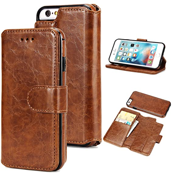 timeless design d2dd7 61bf4 UEEBAI Case for iPhone 5 5S SE,Premium Folio PU Leather Wallet Case with  [Detachable] [Magnetic Closure] [Card Slots] Stand Function Full Protection  ...