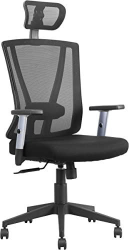 JJS Home Office Ergonomic High Back Desk Chair, Breathable Mesh Recline Computer Task Work Chair with Adjustable Height and Armrest Lumbar Head Support