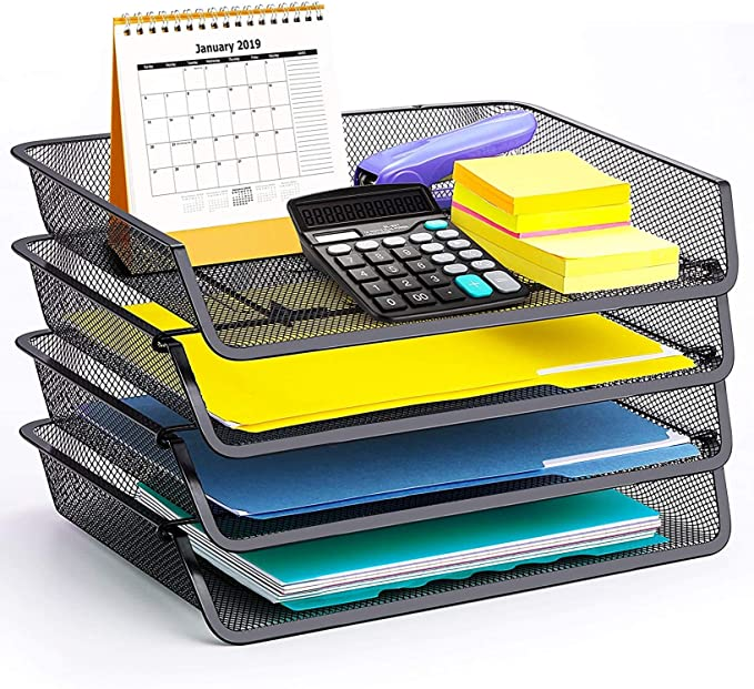 Details about  /4 Tier Stack able Letter Tray with Pen Holder Office Paper Organizer