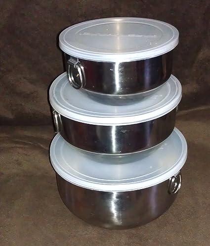 Farberware Stainless Nesting Stacking Mixing Storage Serving Baking Bowl Lid