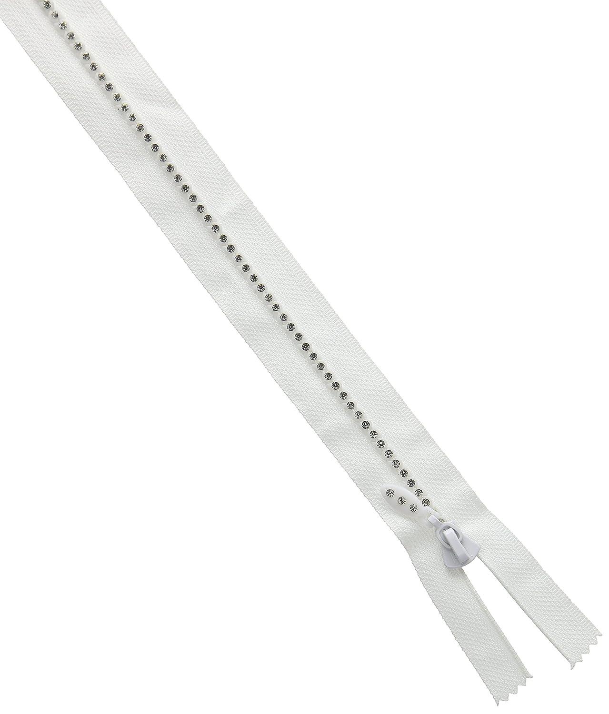 Trimit strass cerniera 30cm, effetto diamante, colore: bianco Trimit319W