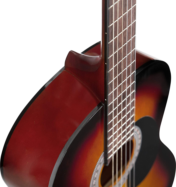 Guitarra clásica Stretton Payne de tamaño completo 4/4 (99 cm), paquete de guitarra acústica clásica de estilo español con cuerdas de nailon.