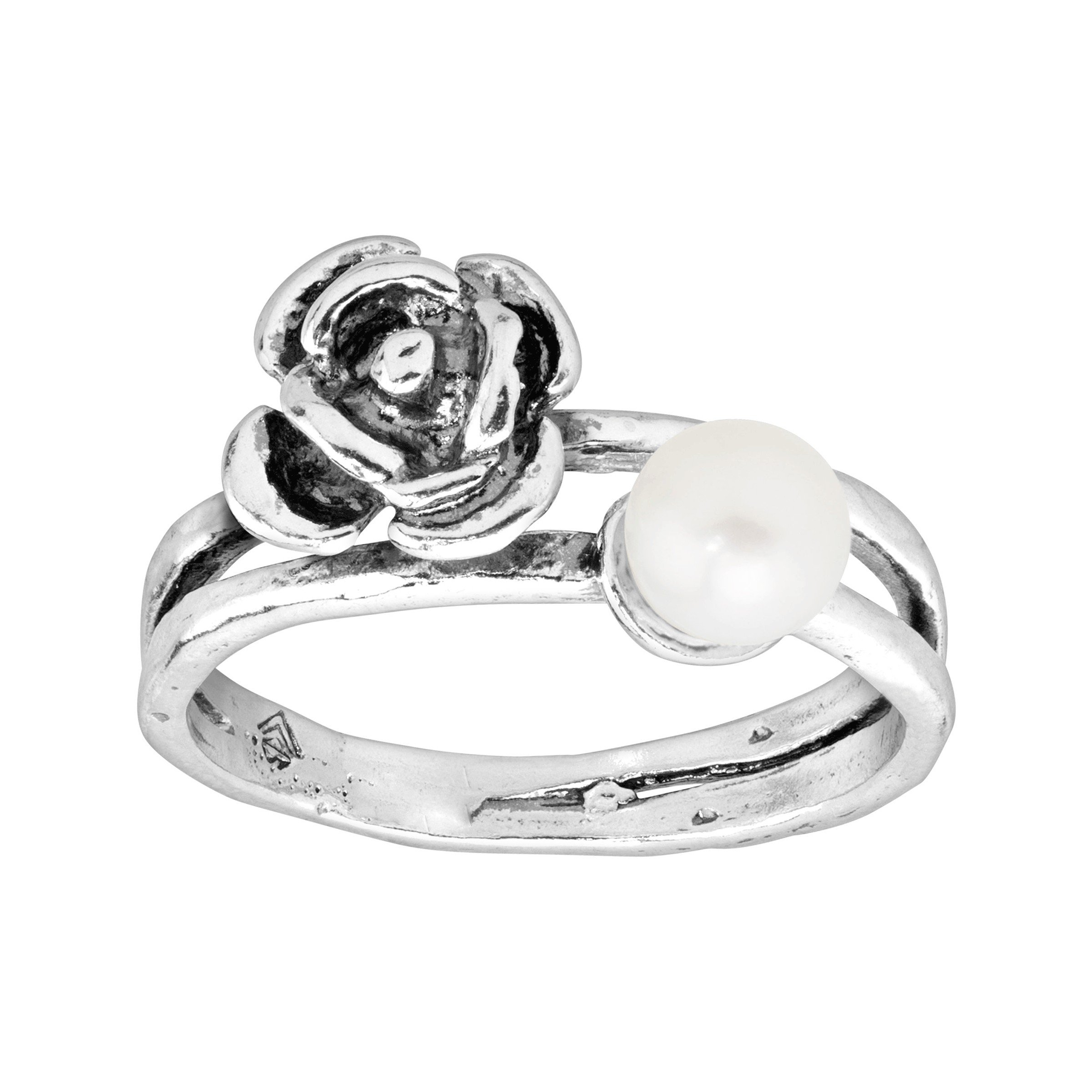 Silpada 'Le Fleur' 5-5.5 mm Freshwater Cultured Pearl Ring in Sterling Silver Size 8