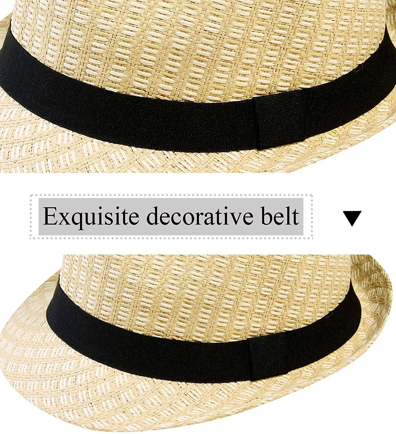 9038c6e7e45 YoungLove Beach Straw Fedora Hat w Solid Hat Band for Men   Women at Amazon Men s  Clothing store