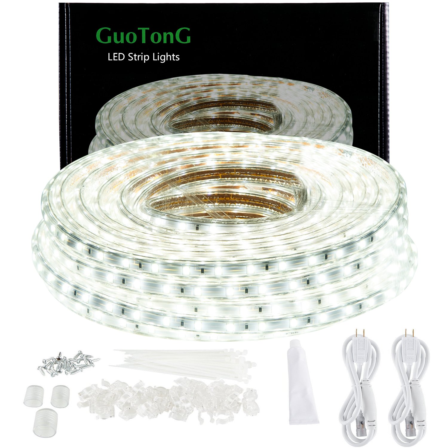 GuoTonG 50ft/15m LED Light Strip kit,Waterproof, 6000K Daylight White,110V 2 Wire, Flexible, 900 Units SMD 2835 LEDS,UL Listed Power Supply,Indoor/Outdoor Use, Ideal for Backyards, Decorative Lighting