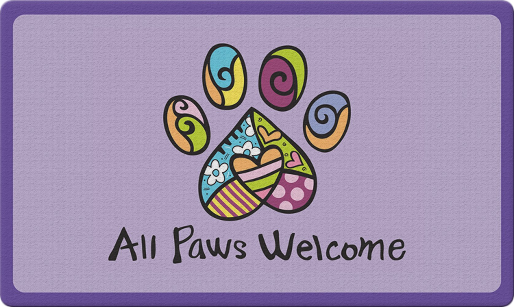 Toland Home Garden All Paws Welcome 18 x 30 Inch Decorative Floor Mat Colorful Puppy Dog Kitty Cat Greeting Doormat