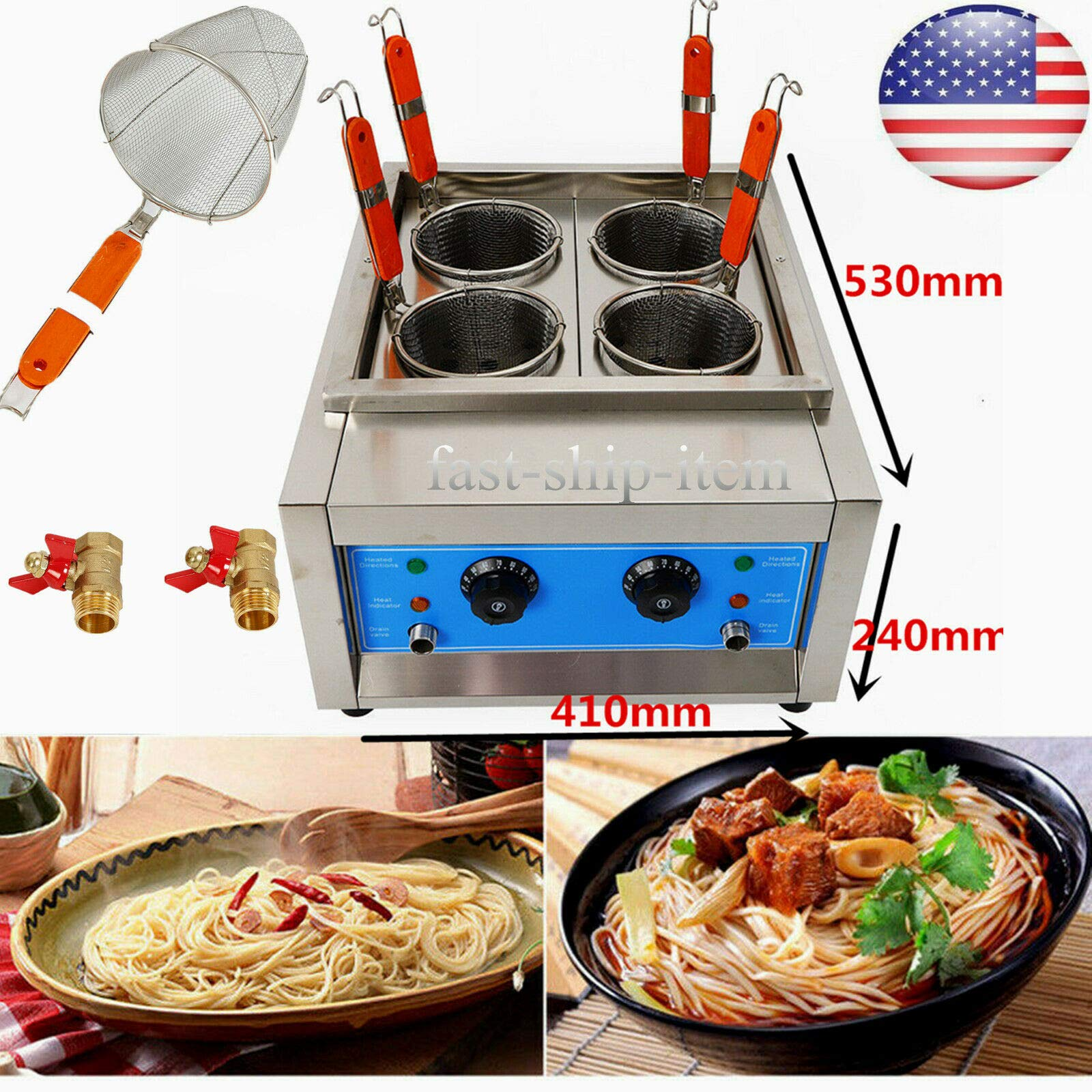 TFCFL Commercial Electric Pasta Makers 4 Baskets 4KW Cooking Machine Stainless by TFCFL