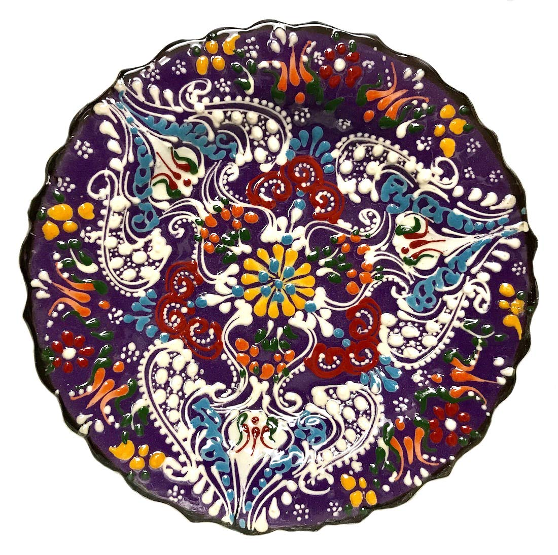 Nazar Turkish Imports ~Hand Painted Ceramic Plate-d:7 inch-purple